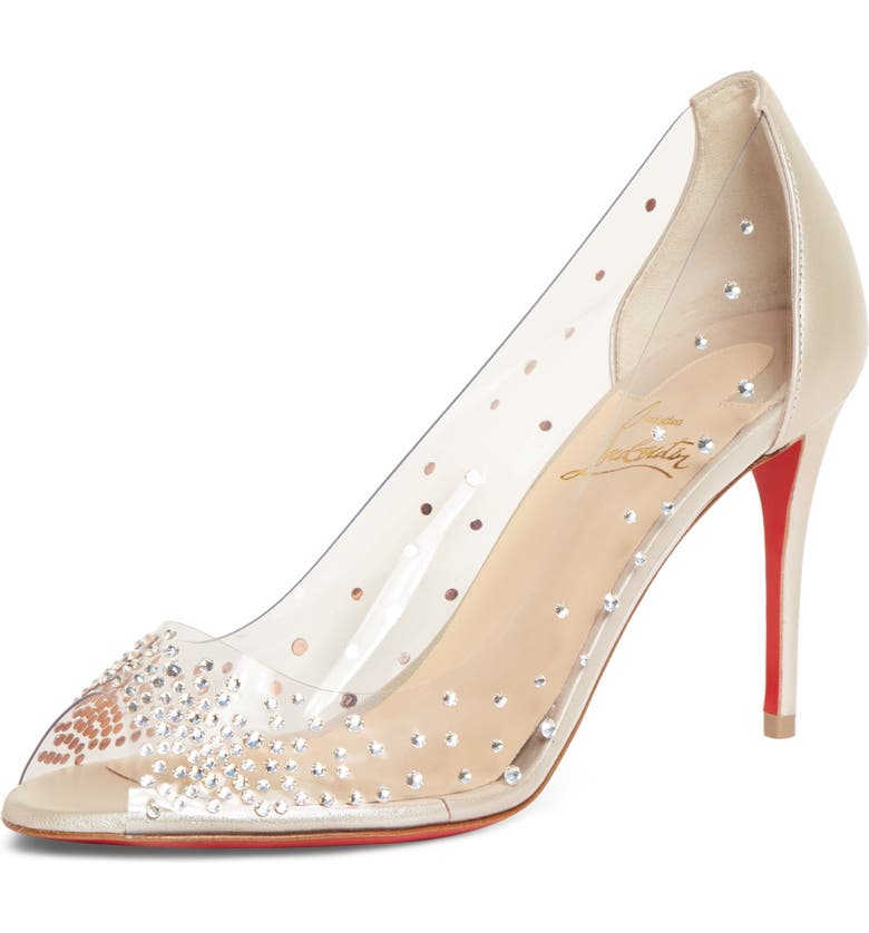 CHRISTIAN LOUBOUTIN Sucre Glace Embellished Clear Sandal, Main, color, NUDE