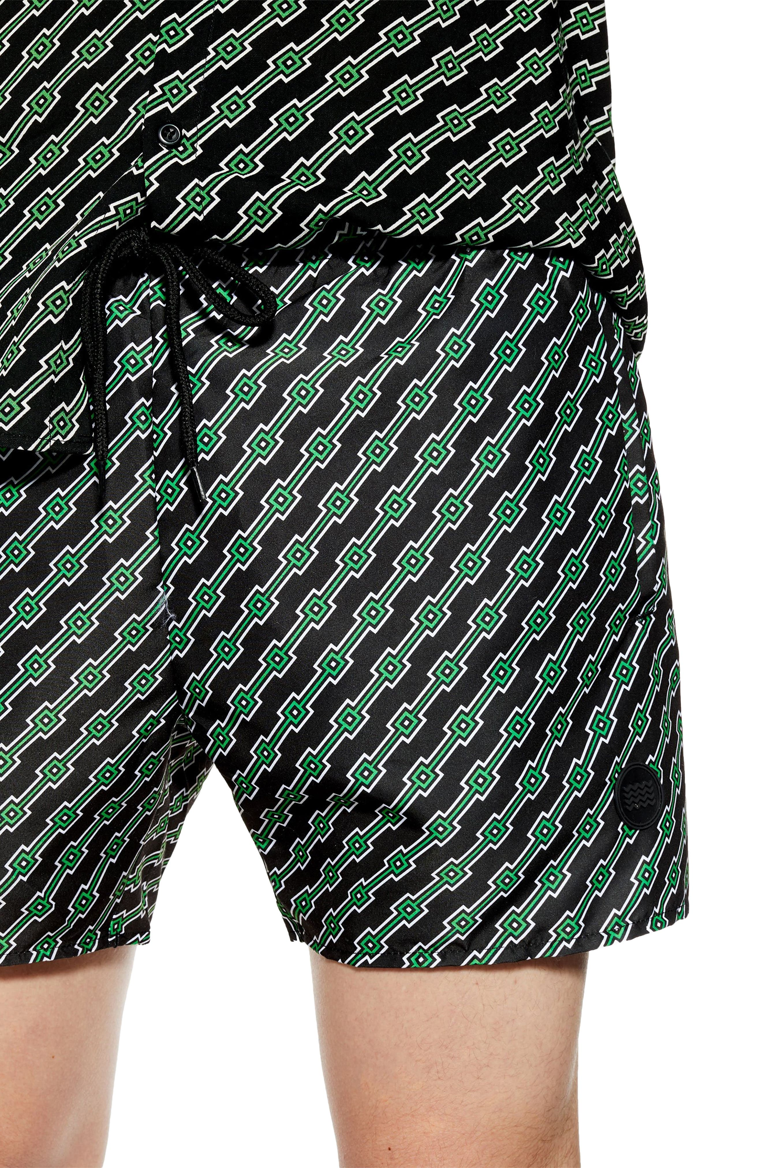 ,                             Geo Print Co-Ord Swim Trunks,                             Alternate thumbnail 3, color,                             BLACK MULTI