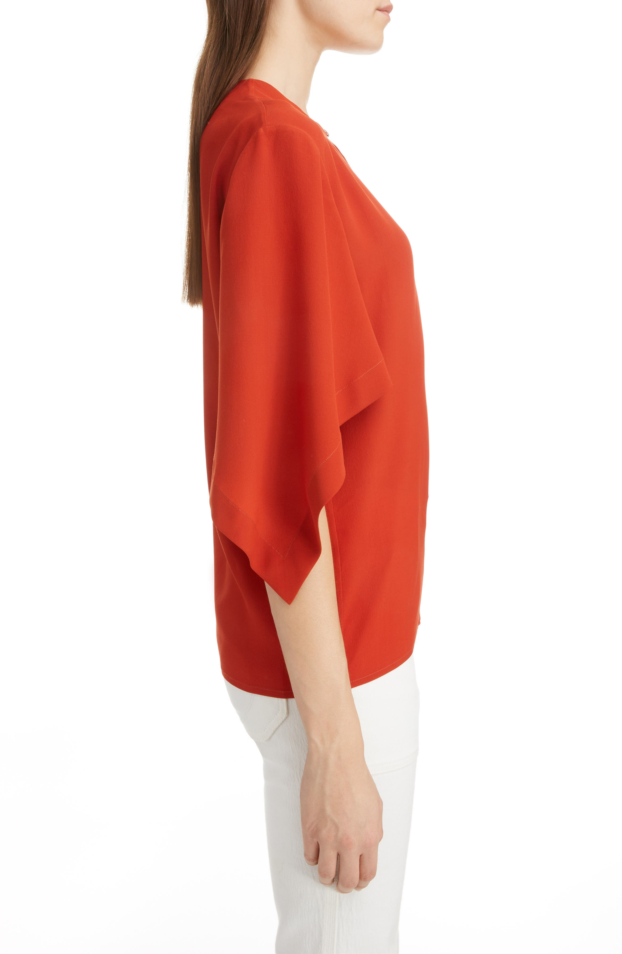 ,                             Split Neck Silk Blouse,                             Alternate thumbnail 3, color,                             843-ROOIBOS ORANGE