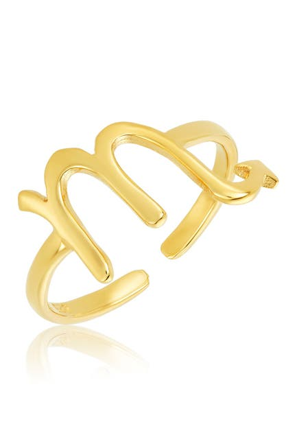 Image of Sterling Forever 14K Gold Vermeil Plated Sterling Silver Adjustable Zodiac Ring - Scorpio