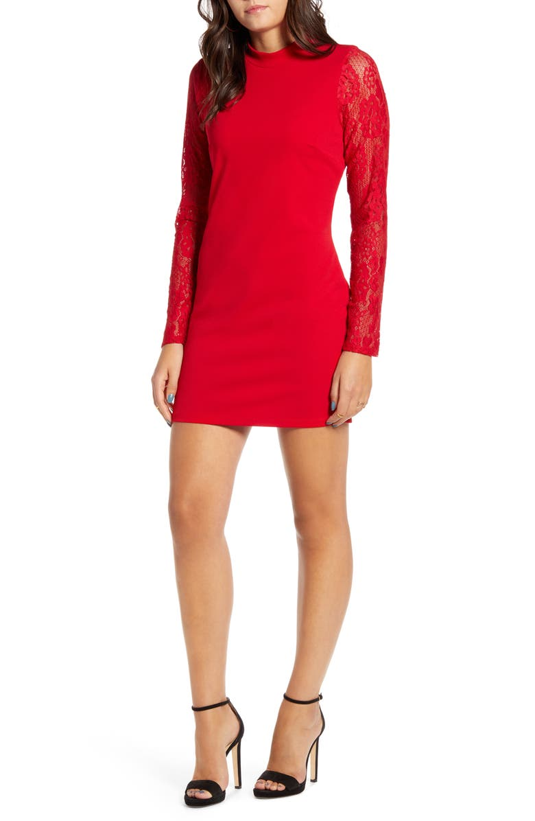 SPEECHLESS Lace Sleeve Scuba Crepe Body-Con Dress, Main, color, RED