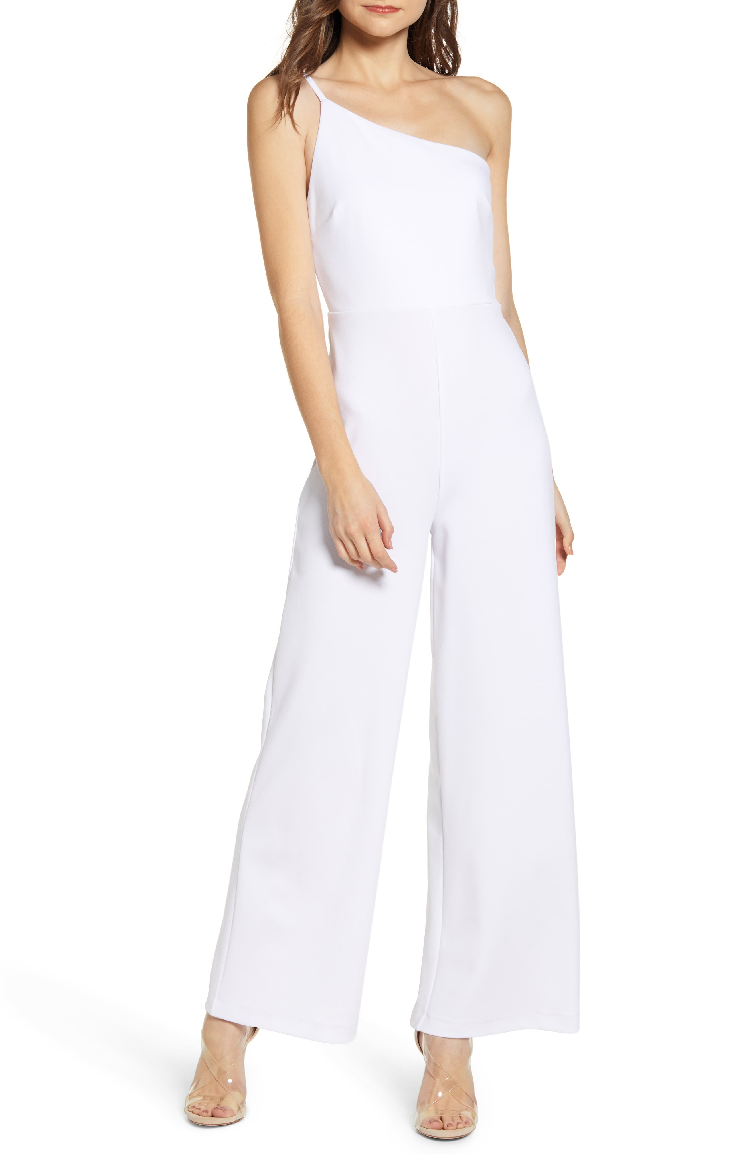 Leith One-Shoulder Jumpsuit, White