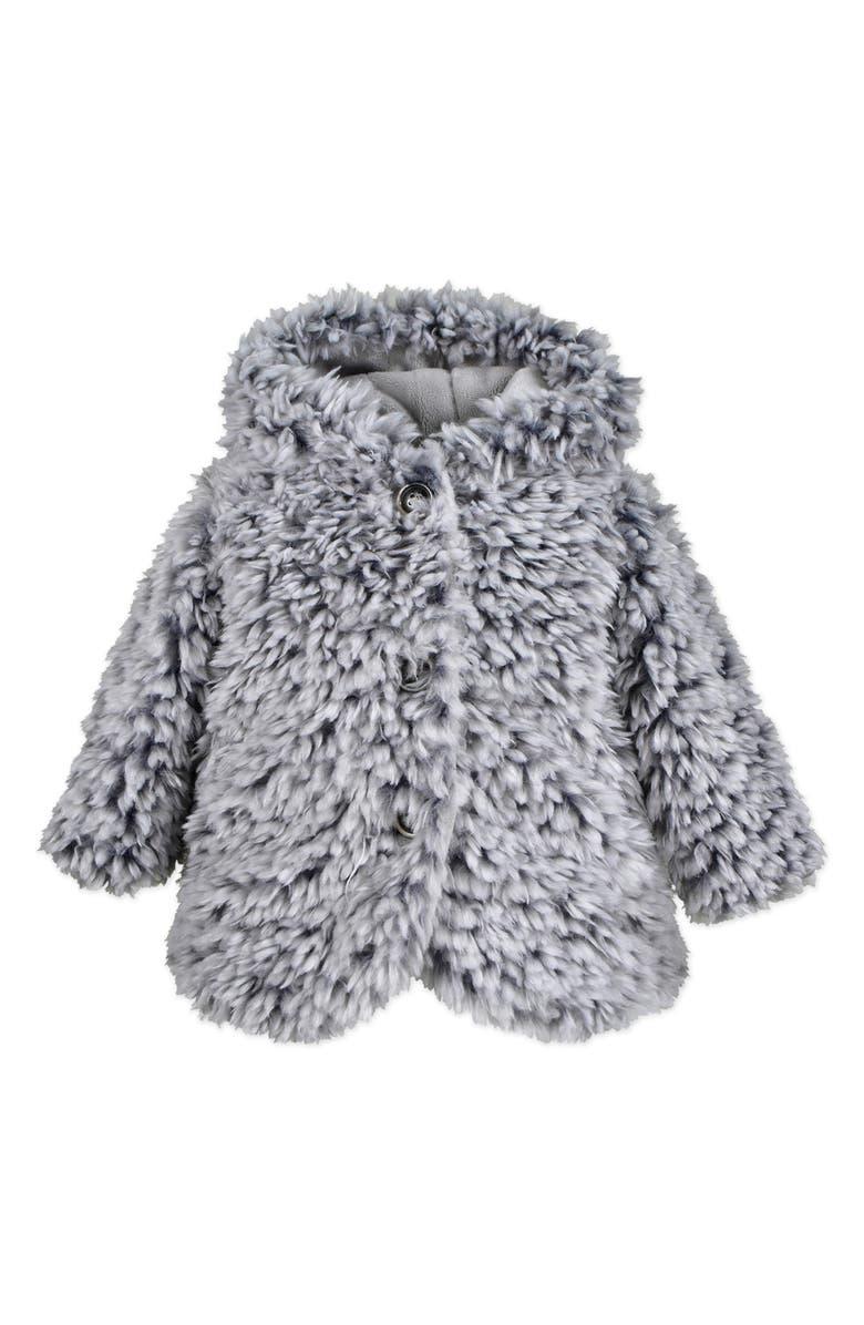 WIDGEON Hooded Faux Fur Jacket, Main, color, GREY