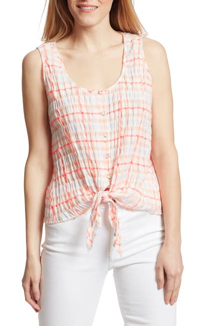 Image of Ella Moss Jennifer Gingham Front Tie Top