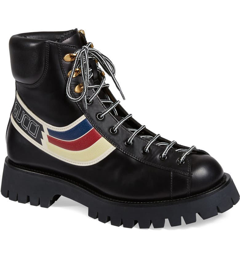 GUCCI Web Hiking Boot, Main, color, MISC. BLACK