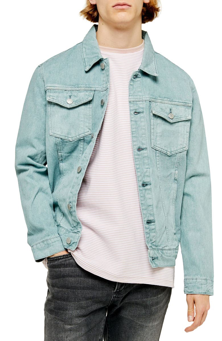 TOPMAN Classic Fit Denim Trucker Jacket, Main, color, BLUE