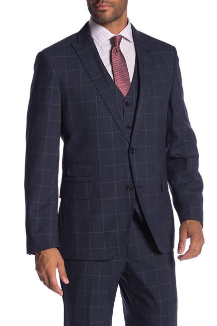 Image of SAVILE ROW CO Eaton Blue Windowpane Two Button Peak Lapel Modern Fit Suit Separate Jacket