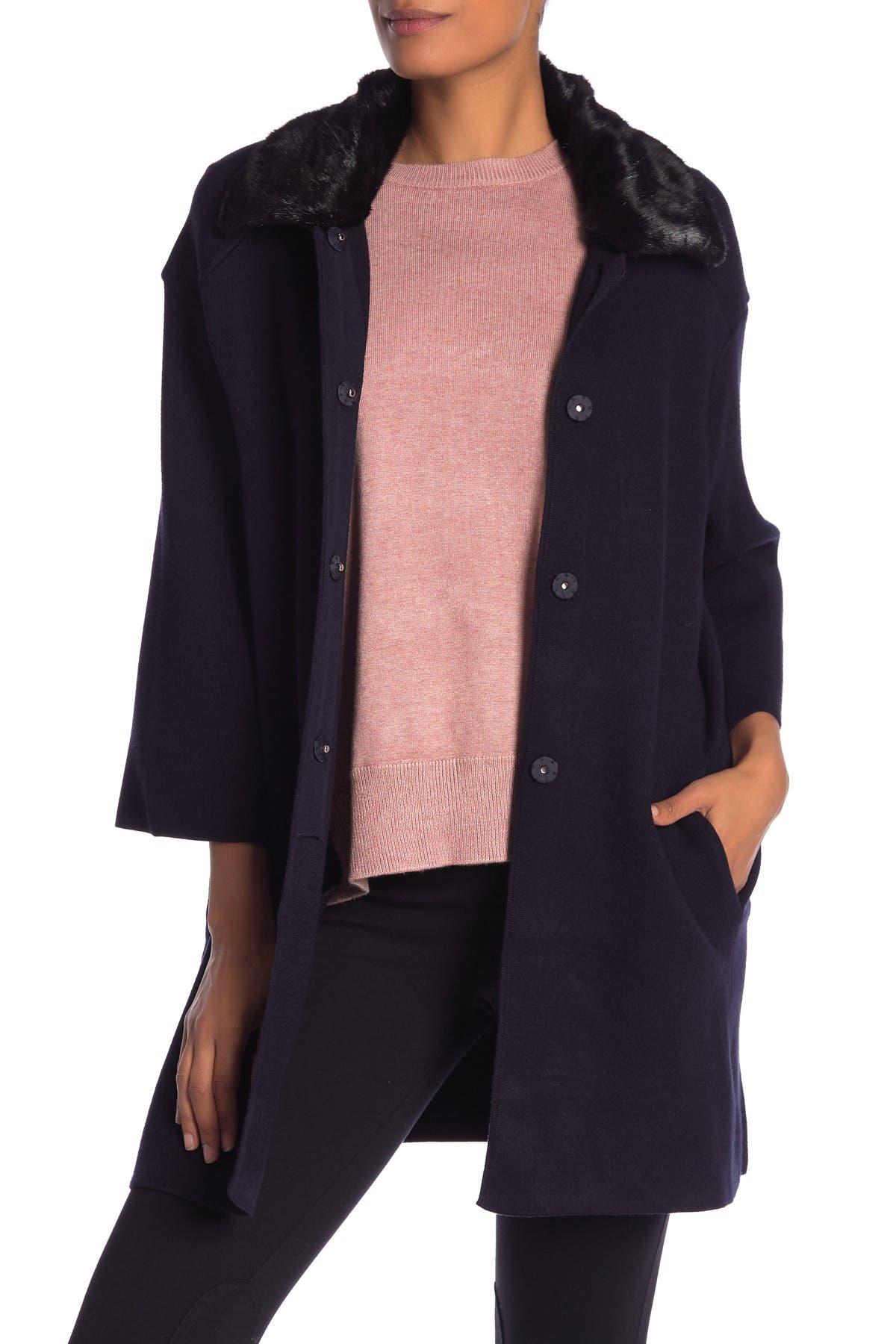 Image of Catherine Catherine Malandrino Faux Fur Collar Snap Down Jacket