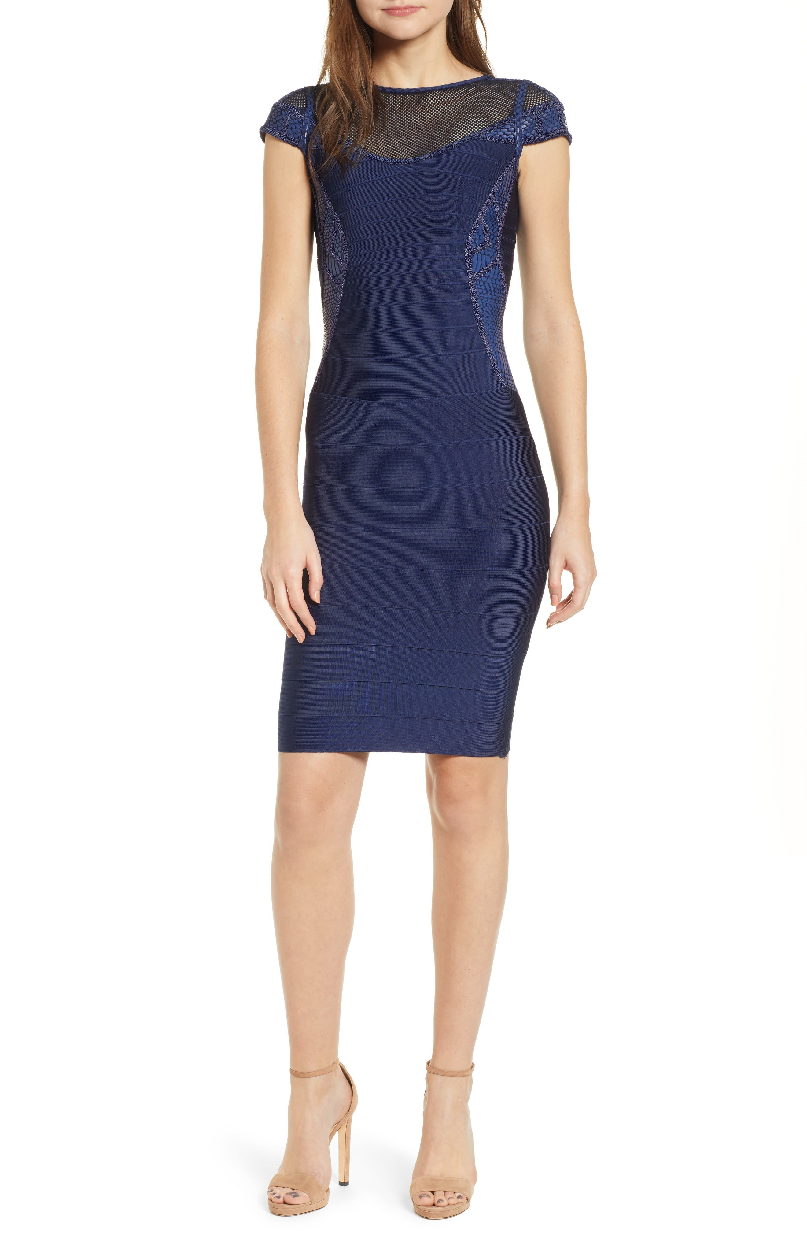 Sentimental Ny Embroidered Body-Con Dress, Blue