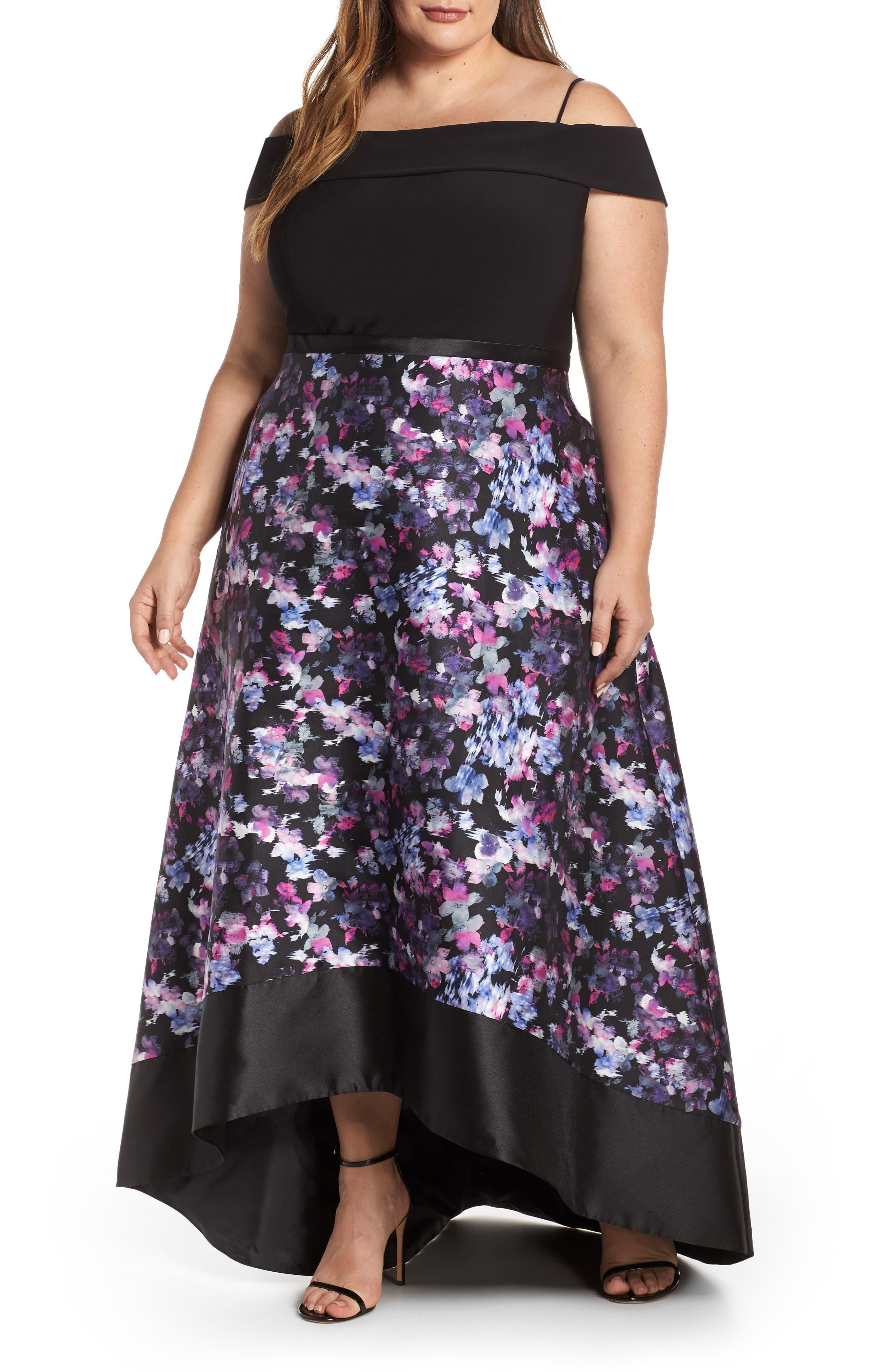 Plus Size Morgan & Co. Cold Shoulder Mikado High/low Hem Evening Dress, Black