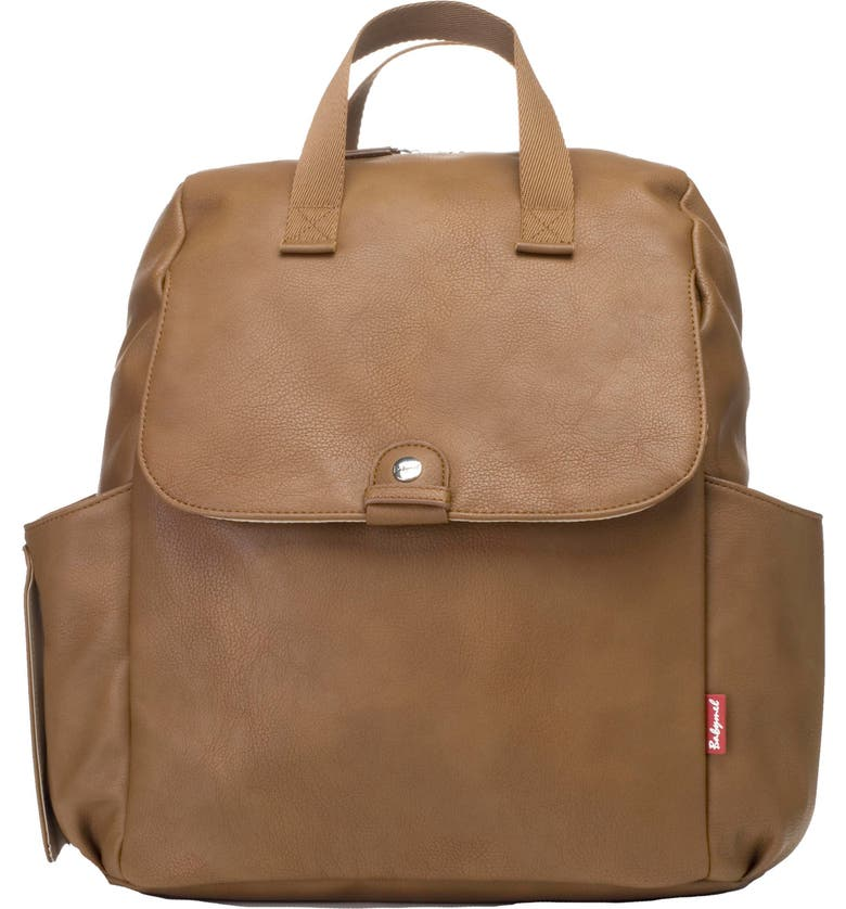 BABYMEL Robyn Convertible Faux Leather Diaper Backpack, Main, color, TAN