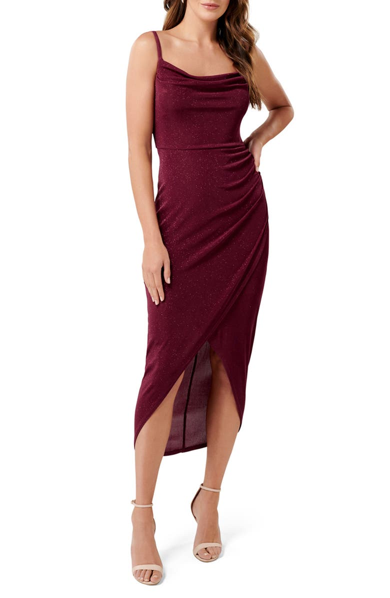 EVER NEW Jolene Glitter Cowl Neck Midi Dress, Main, color, RED SHIRAZ