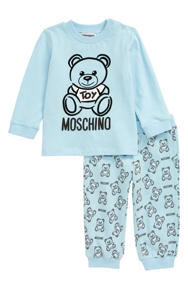 MOSCHINO Graphic Shirt & Sweatpants Set, Main, color, BLUE