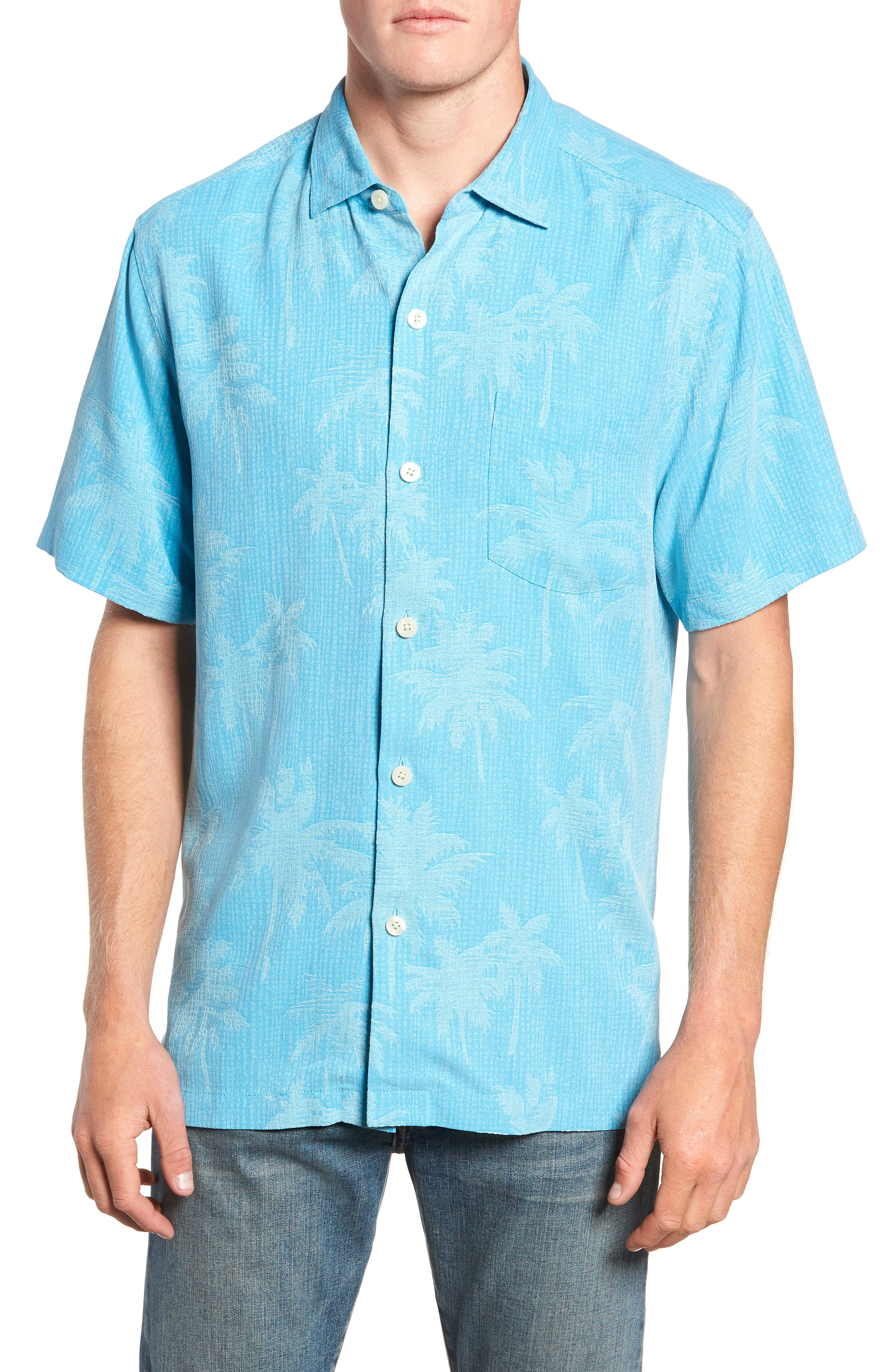 Digital Palms  Classic Fit Silk Sport Shirt, Main, color, MAUI BLUE
