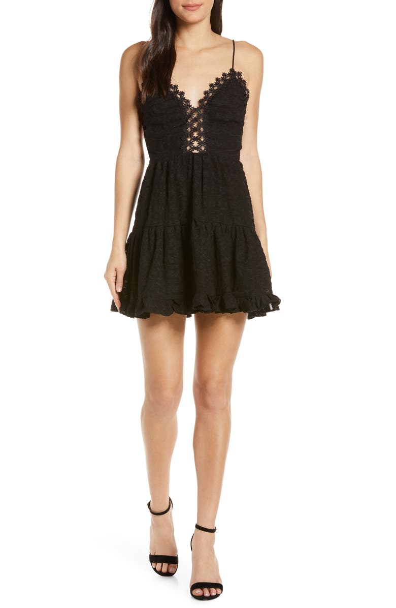 FINDERS KEEPERS Sofia Skater Dress, Main, color, BLACK