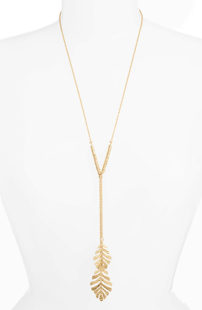 3fd4227b7a7f7 kate spade new york a new leaf lariat pendant necklace | Nordstrom