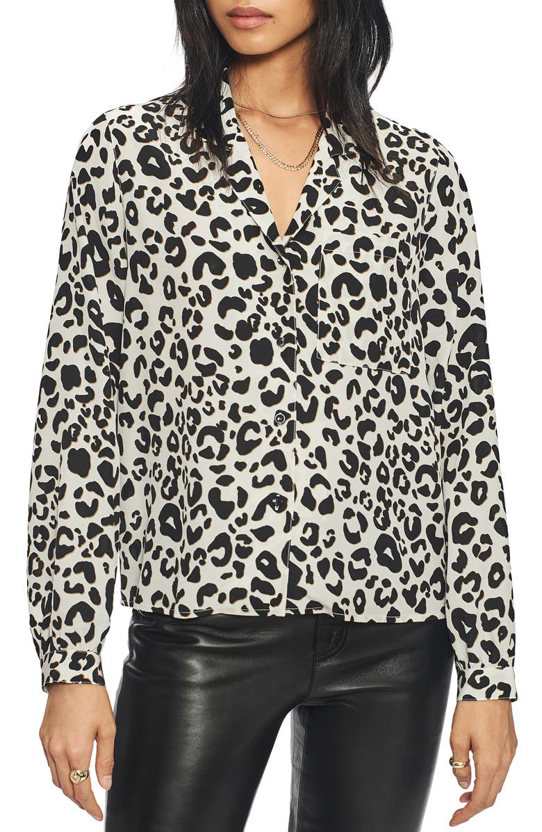 ANINE BING Lilah Print Silk Blouse, Main, color, LEOPARD