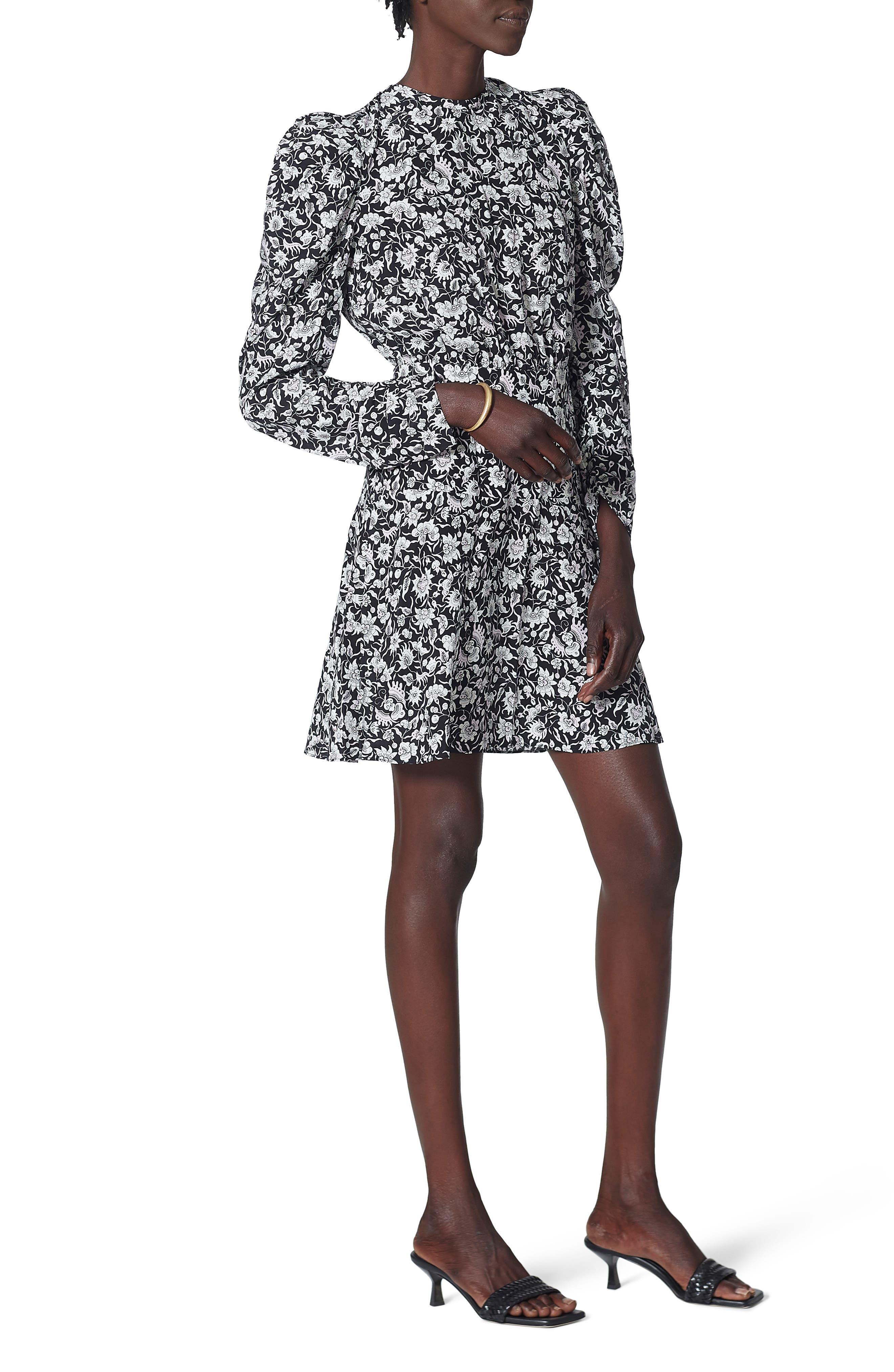 Joie Celyn Floral Puff Long Sleeve Silk Dress | Nordstrom