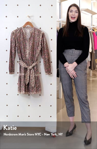 Floral Mix Belted Long Sleeve Minidress, sales video thumbnail