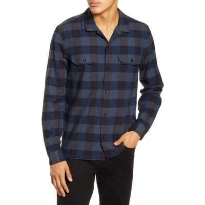 Bldwn Guetes Sim Fit Plaid Button-Up Flannel Overshirt, Blue