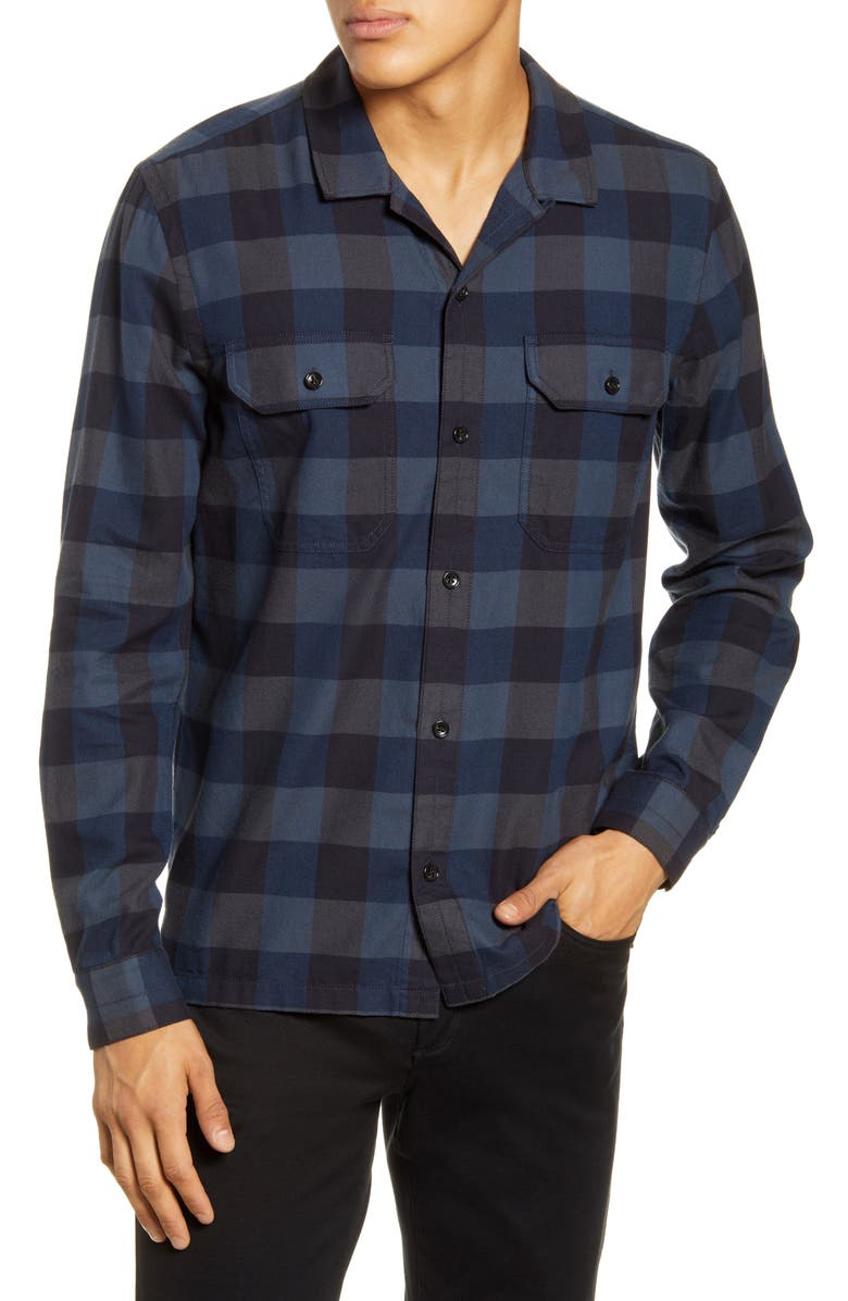 BLDWN Guetes Sim Fit Plaid Button-Up Flannel Overshirt, Main, color, NAVY COMBO