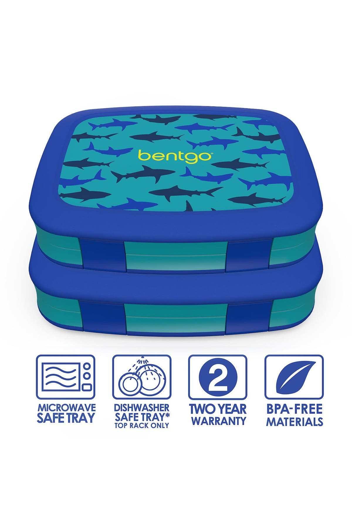 Image of BENTGO 2-Pack of Kids Prints Leak-Proof 5-Compartment Bento-Style Lunch Box - Shark