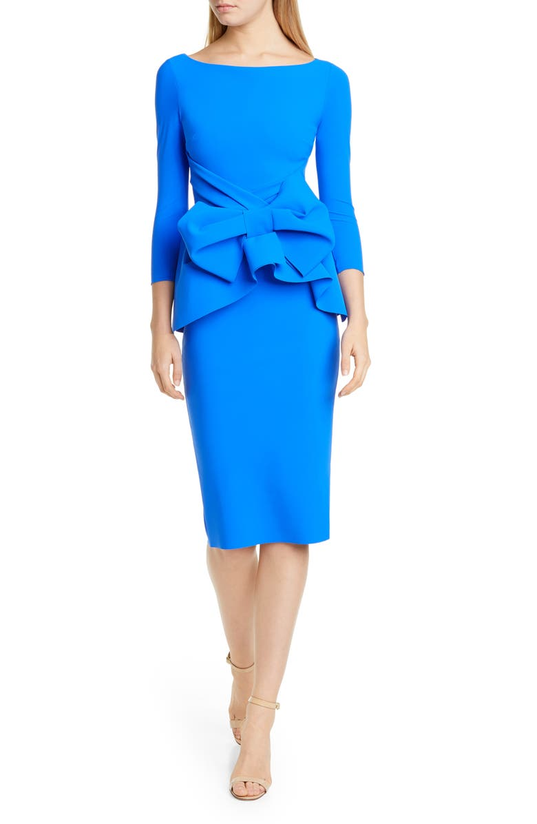CHIARA BONI LA PETITE ROBE Ruffle Bow Cocktail Dress, Main, color, BLUE KLEIN