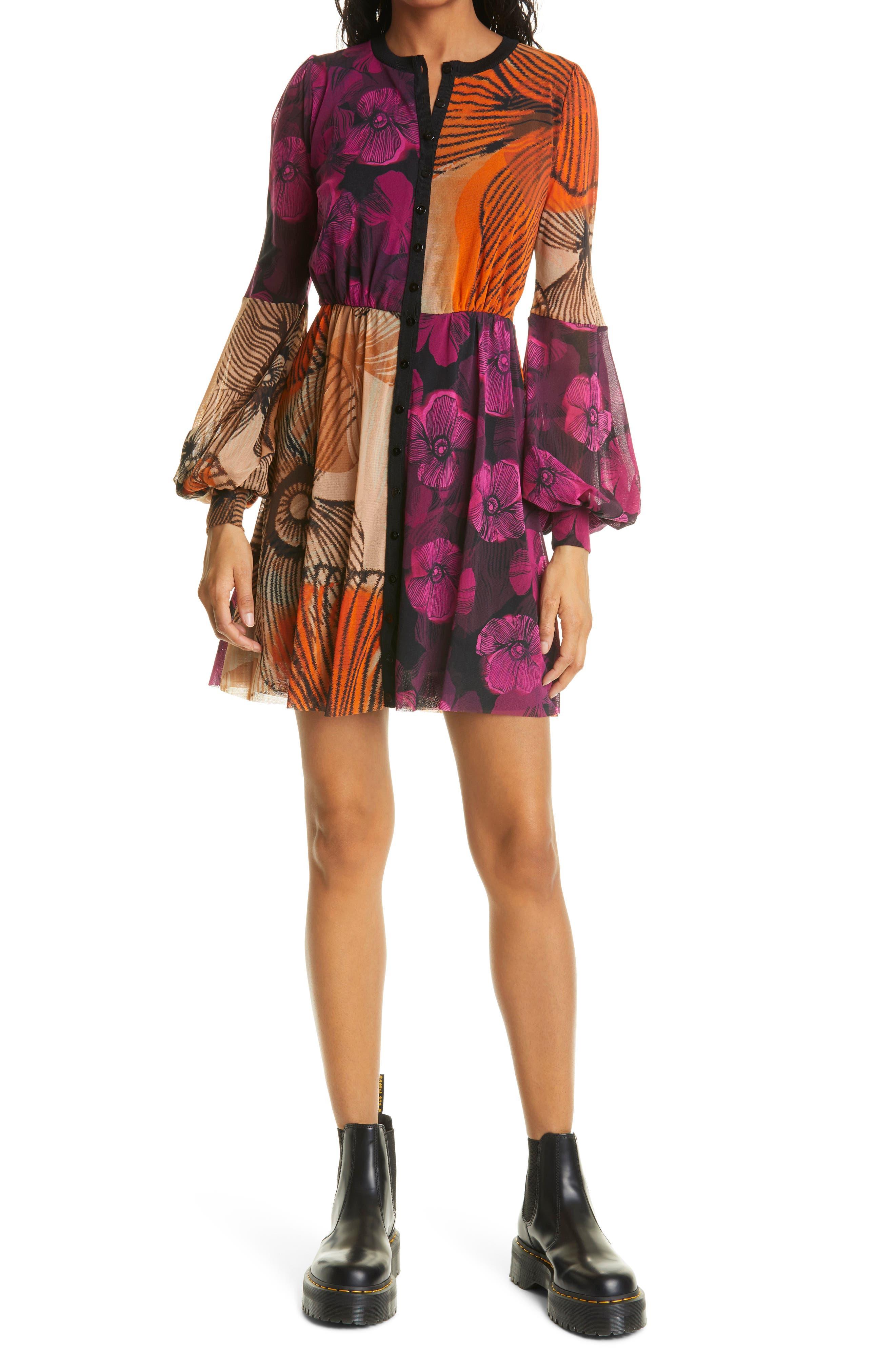 Block Floral Print Long Sleeve Mesh Dress