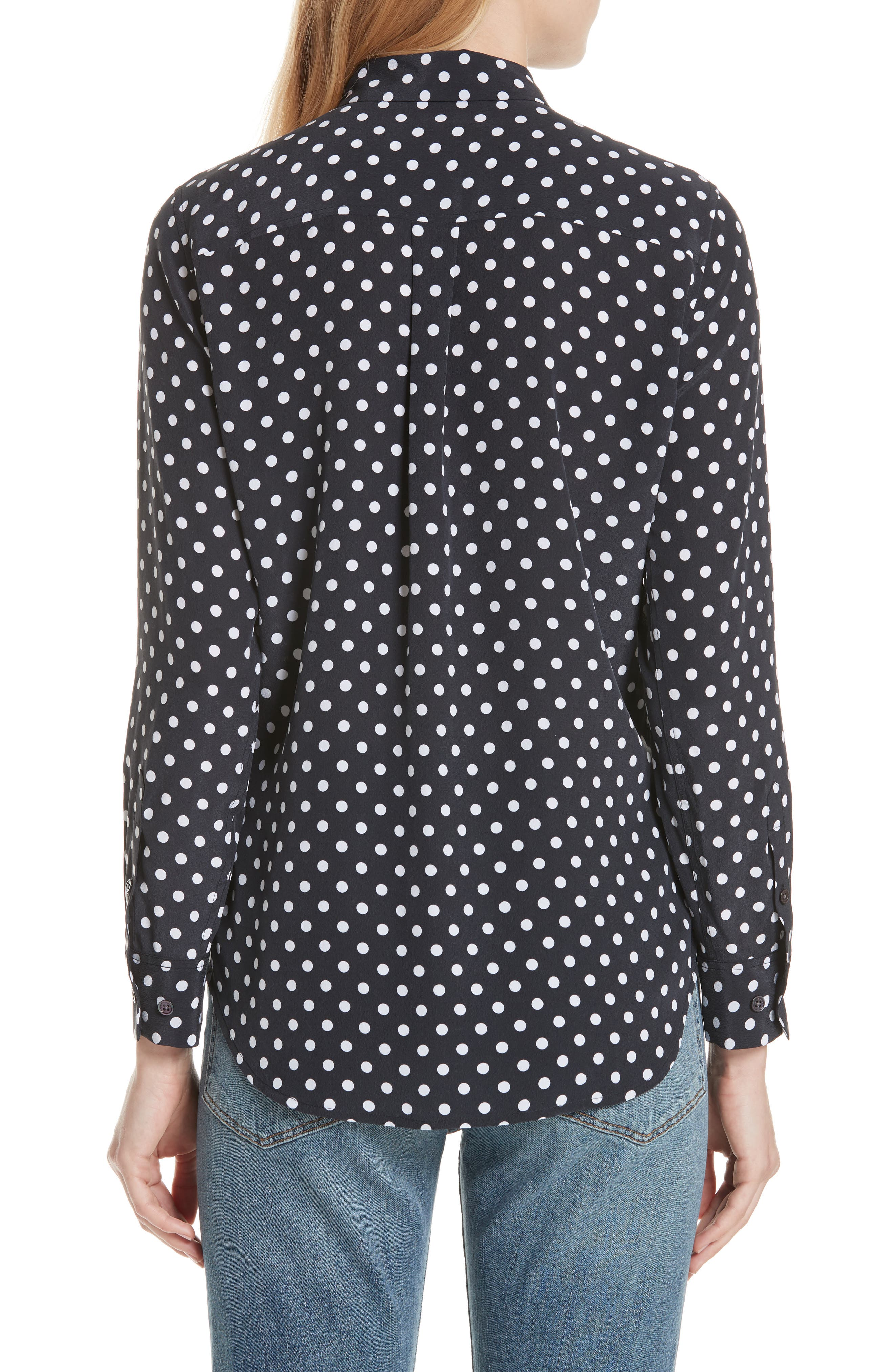 ,                             Slim Signature Polka Dot Silk Shirt,                             Alternate thumbnail 2, color,                             ECLIPSE/ BRIGHT WHITE