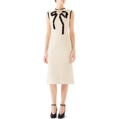 Gucci Bow Tweed Midi Dress, US / 42 IT - Ivory