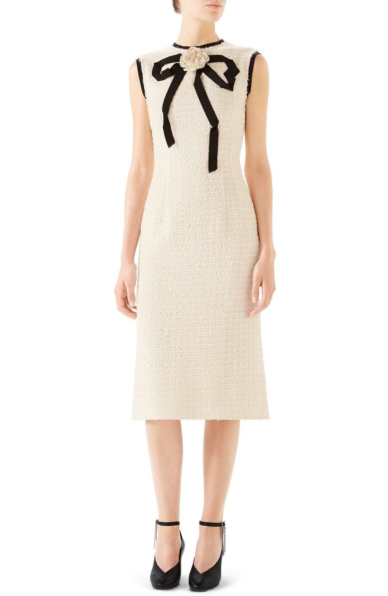 GUCCI Bow Tweed Midi Dress, Main, color, GARDENIA
