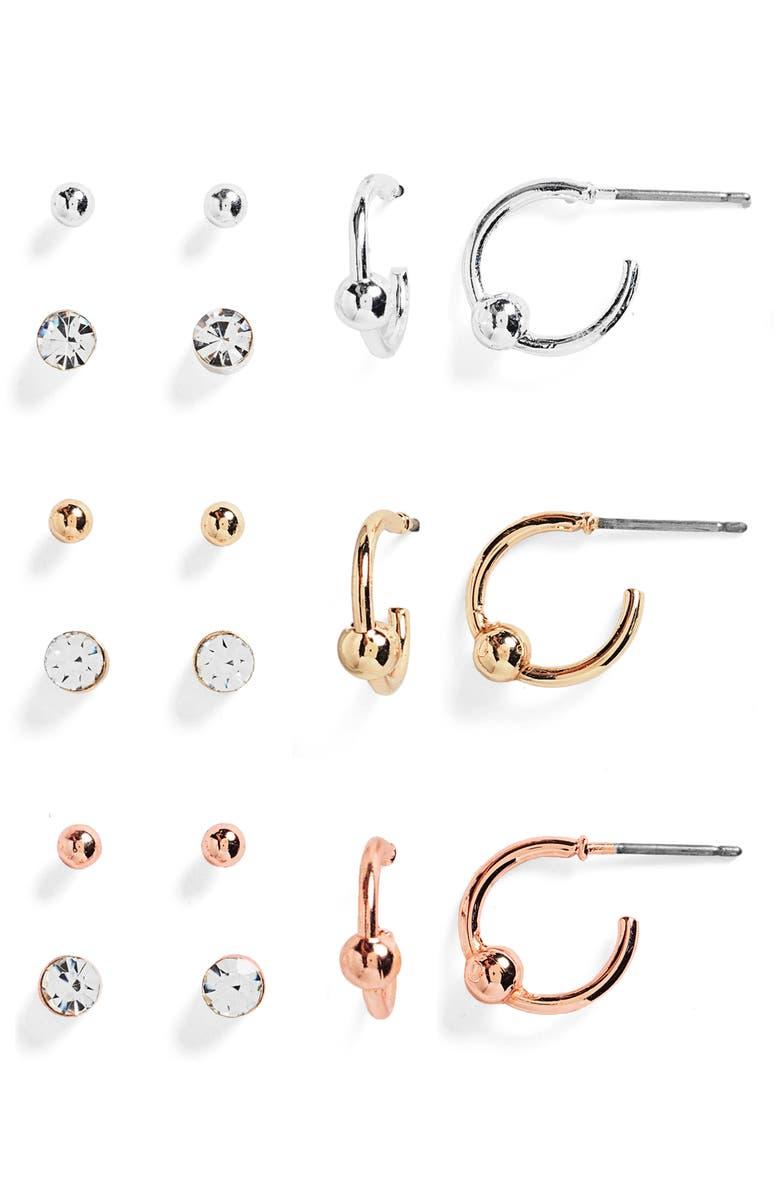 BP. Set of 9 Stone & Hoop Earrings, Main, color, CLEAR- GOLD- RHODIUM