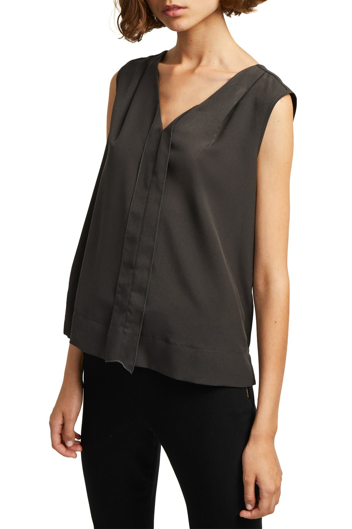 Image of French Connection Solid V-Neck Tank Top