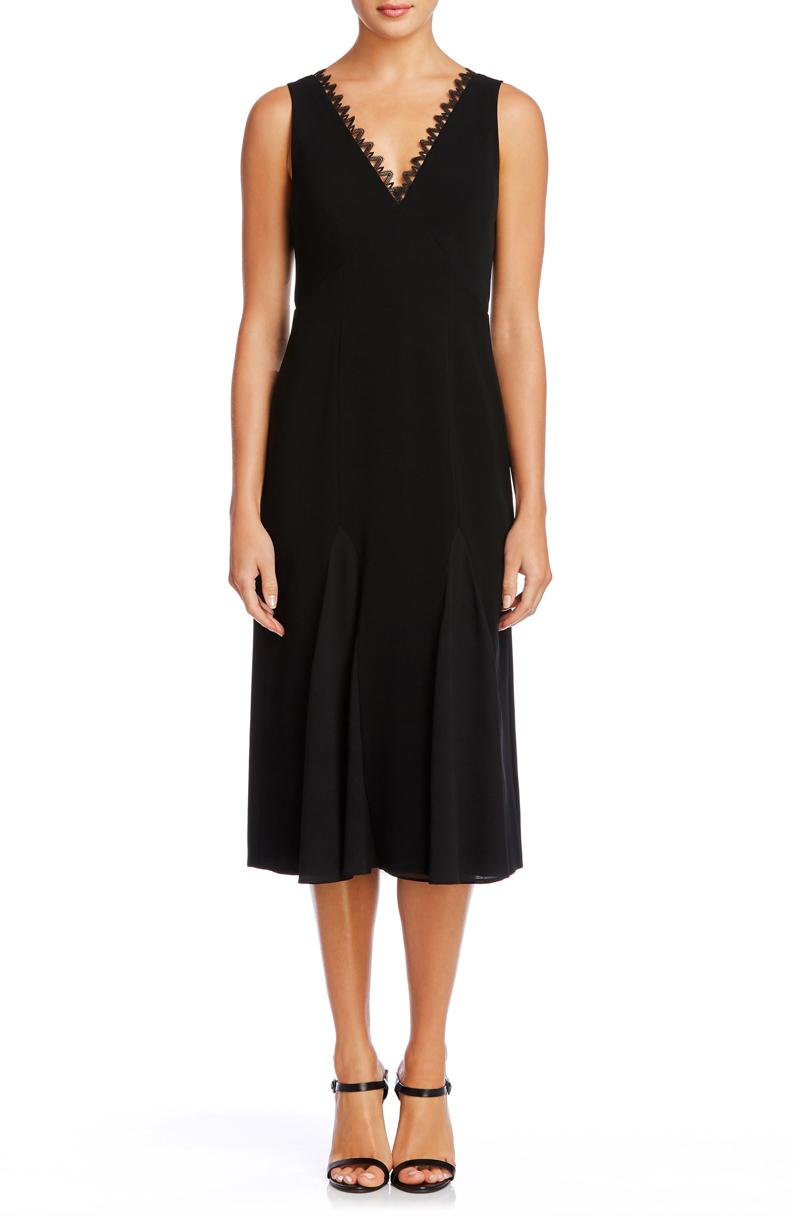 Serafina Geo Lace Trim Midi Dress