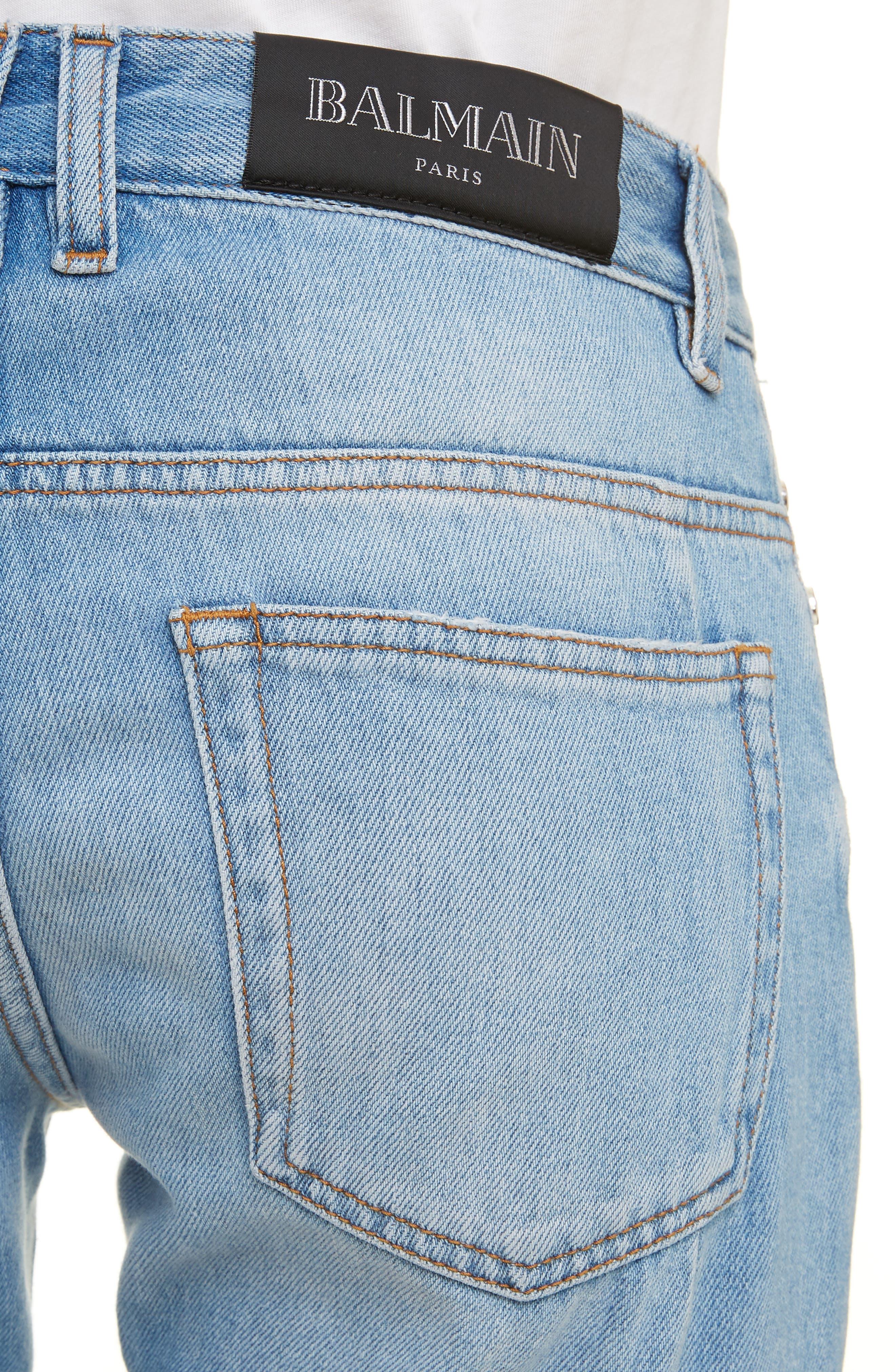 ,                             Straight Fit Jeans,                             Alternate thumbnail 4, color,                             BLEU JEAN