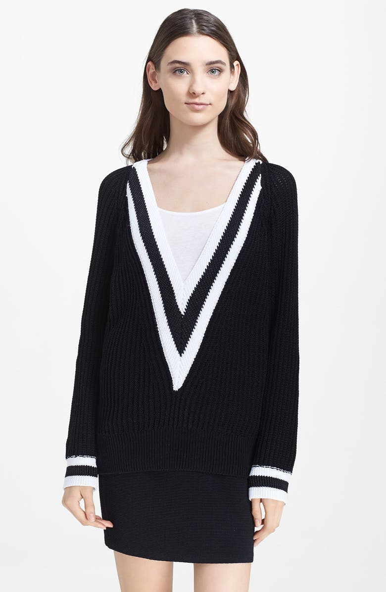 RAG & BONE 'Talia' V-Neck Sweater, Main, color, 001