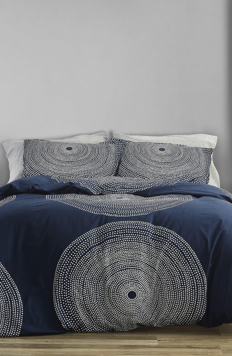 MARIMEKKO Fokus Comforter & Sham Set, Main, color, DARK BLUE