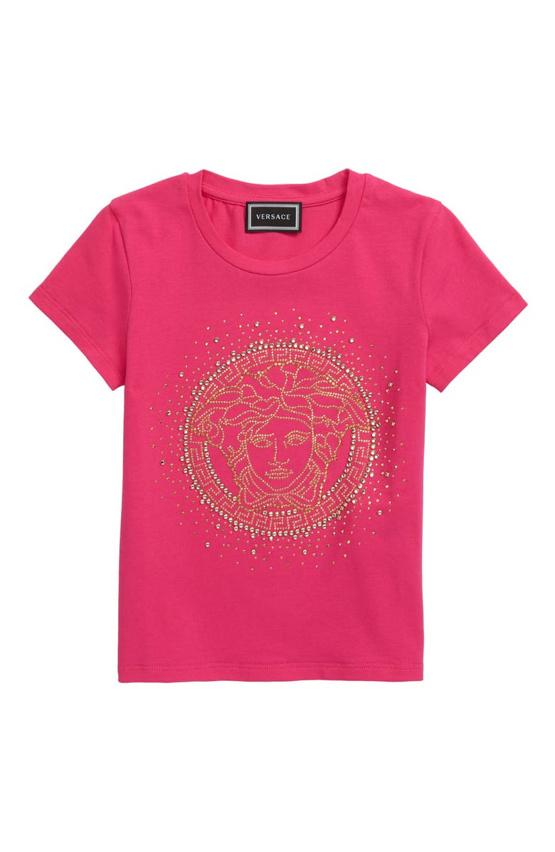 VERSACE Embellished Strass Medusa Tee, Main, color, PINK/ GOLD