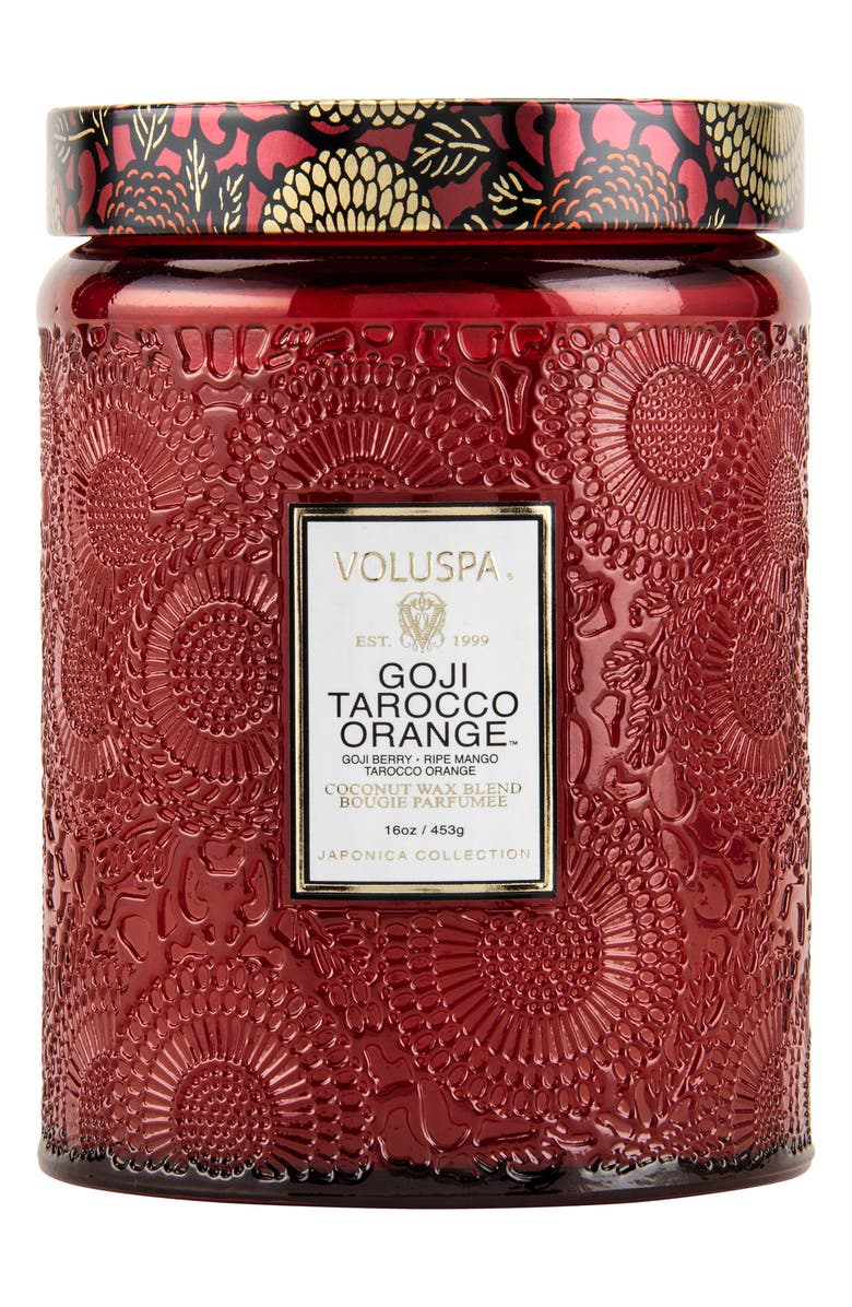 VOLUSPA Japonica Goji Tarocco Orange Large Embossed Glass Jar Candle, Main, color, GOJI TAROCCO ORANGE