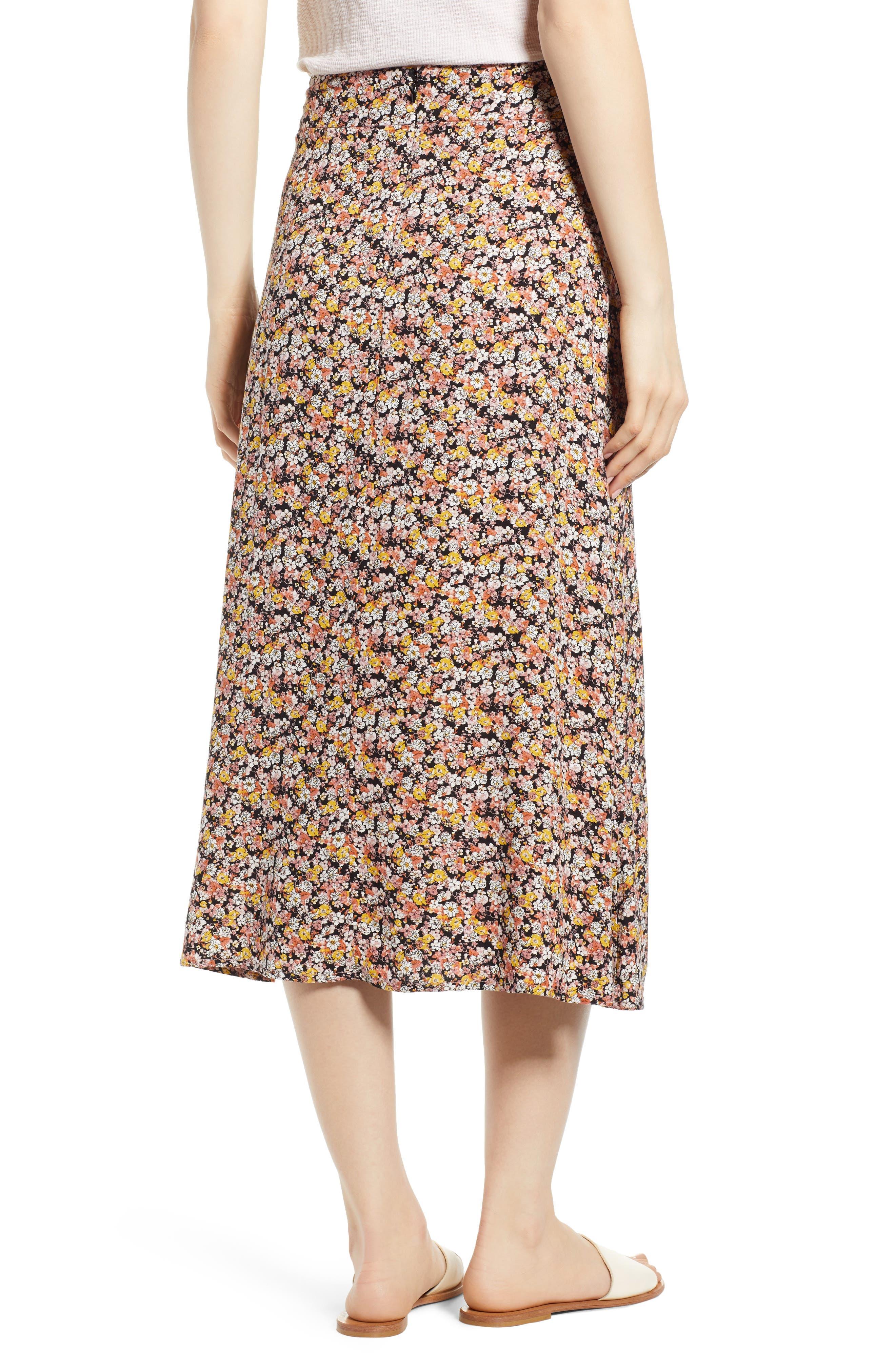 ,                             Tie Waist Floral Print Midi Skirt,                             Alternate thumbnail 2, color,                             BLACK DITSY FLORAL