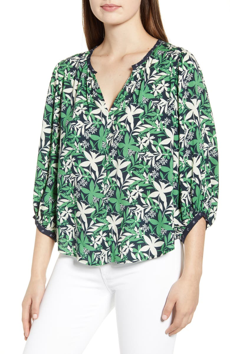 VELVET BY GRAHAM & SPENCER Botanical Print Split Neck Blouse, Main, color, 321