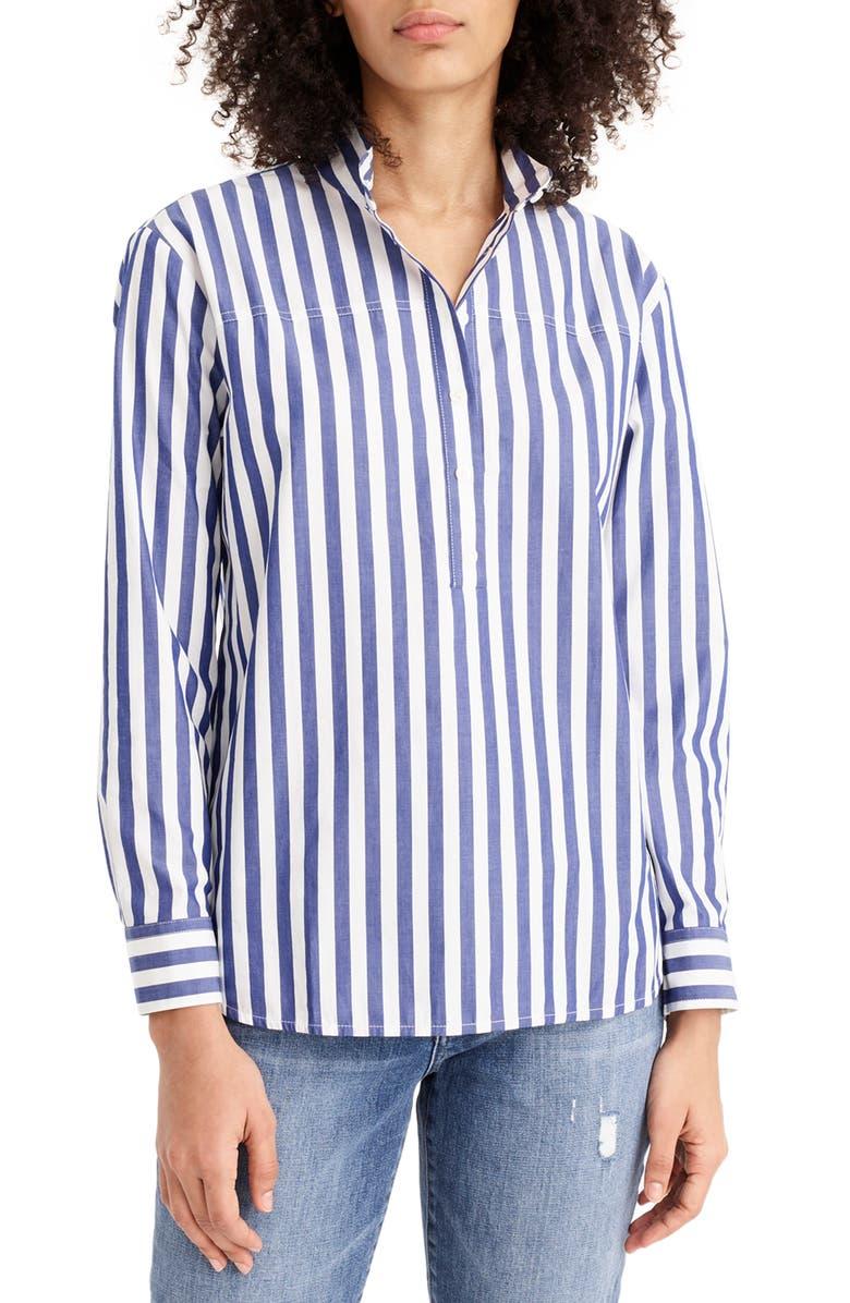 J.CREW Bold Stripe Band Collar Popover Tunic Shirt, Main, color, LIGHTHOUSE