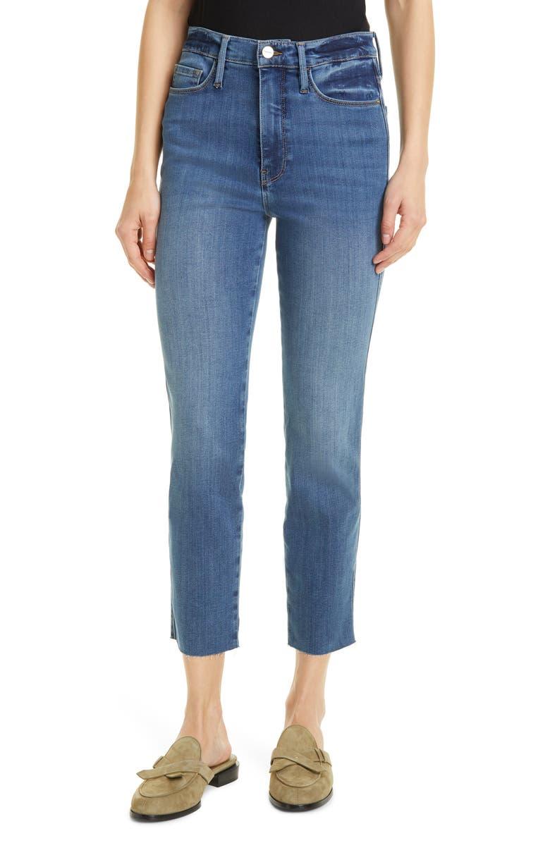 FRAME Le Sylvie Crop Straight Raw Edge Jeans, Main, color, BONHILL