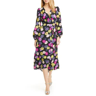 Kate Spade New York Winter Garden Long Sleeve Wrap Dress, Black