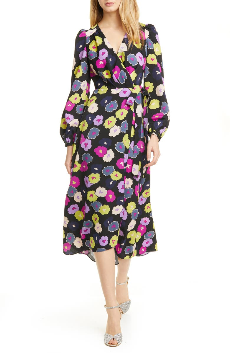 KATE SPADE NEW YORK winter garden long sleeve wrap dress, Main, color, BLACK