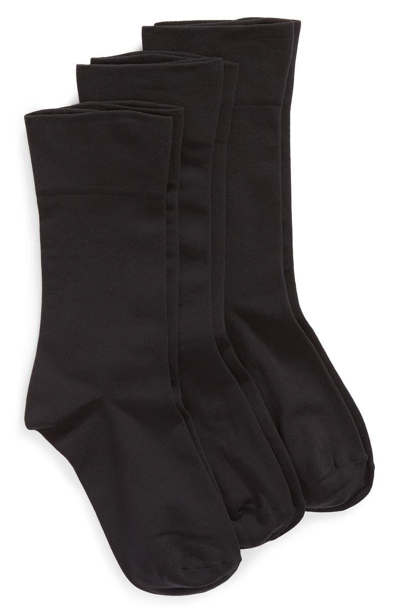 NORDSTROM Ultra Sleek 3-Pack Crew Socks, Main, color, BLACK
