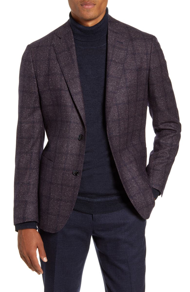 NORDSTROM SIGNATURE Trim Fit Windowpane Wool Sport Coat, Main, color, BURGUNDY NAVY WINDOWPANE