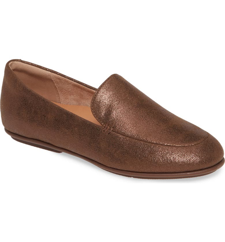 FITFLOP Lena Loafer, Main, color, CHOCOLATE BROWN FAUX LEATHER