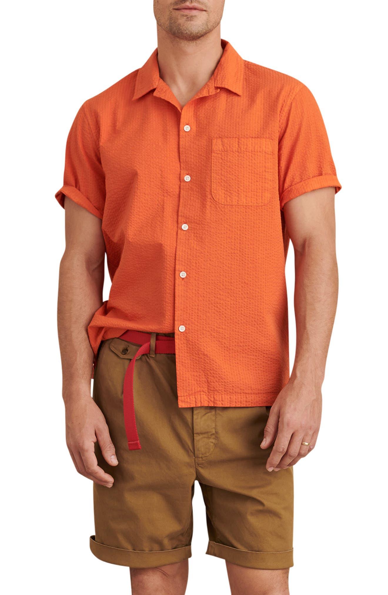 Short Sleeve Seersucker Button-Up Camp Shirt