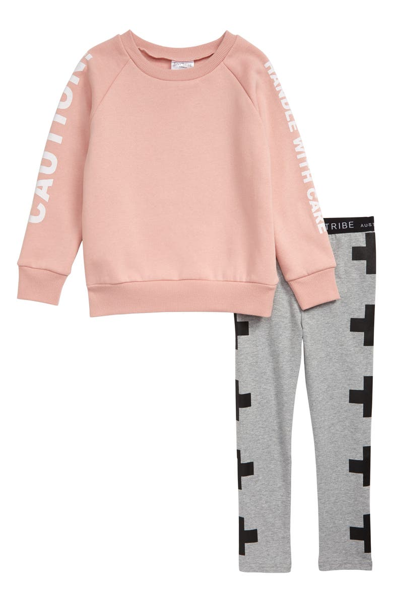 TINY TRIBE Fragile Graphic Sweatshirt & Leggings Set, Main, color, PINK / GREY MARLE